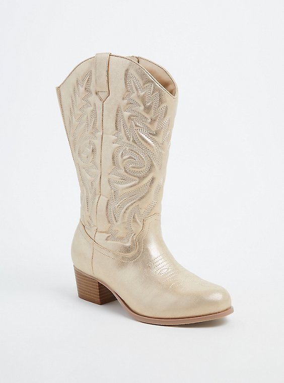 Gold Faux Leather Stitched Cowboy Boot (WW), , hi-res