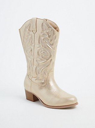 Plus Size Gold Faux Leather Stitched Cowboy Boot (WW), GOLD, hi-res