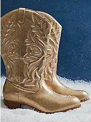 Gold Faux Leather Stitched Cowboy Boot (WW), GOLD, hi-res