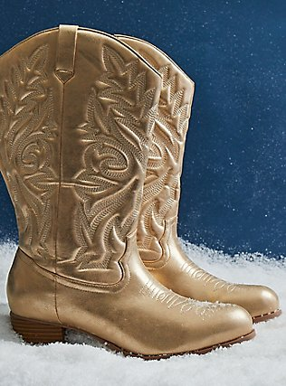 Plus Size Gold Faux Leather Stitched Cowboy Boot (WW), GOLD, pdped