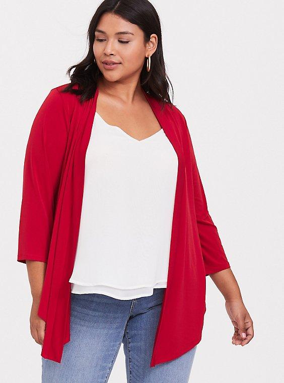 Red Studio Knit Drape Front Cardigan, , hi-res