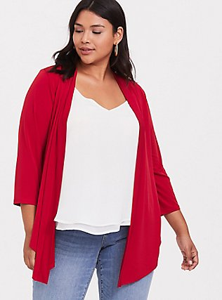 Red Studio Knit Drape Front Cardigan, JESTER RED, hi-res