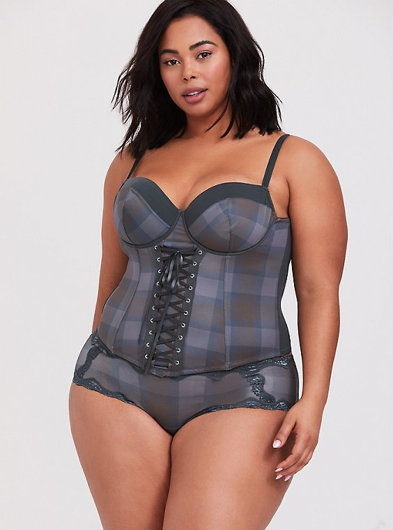 Plus Size Outlander Tartan Plaid Microfiber Lace-Up Corset, , hi-res