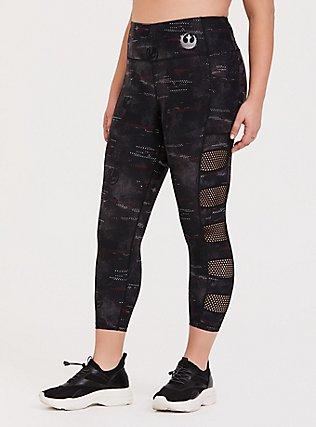 Her Universe Star Wars Episode 9 Rebel Black Camo Crop Active Legging with Pockets, DEEP BLACK, hi-res