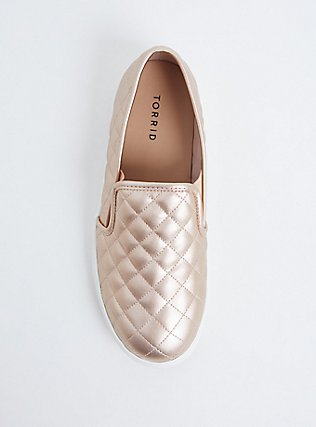Plus Size Metallic Rose Gold Faux Suede Quilted Sneaker (WW), ROSE GOLD, alternate