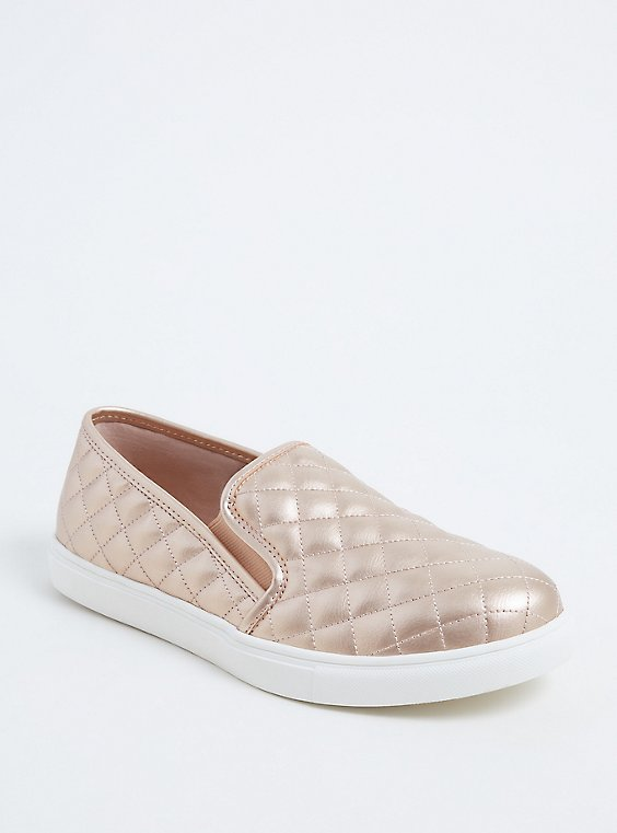 Plus Size Metallic Rose Gold Faux Suede Quilted Sneaker (WW), , hi-res