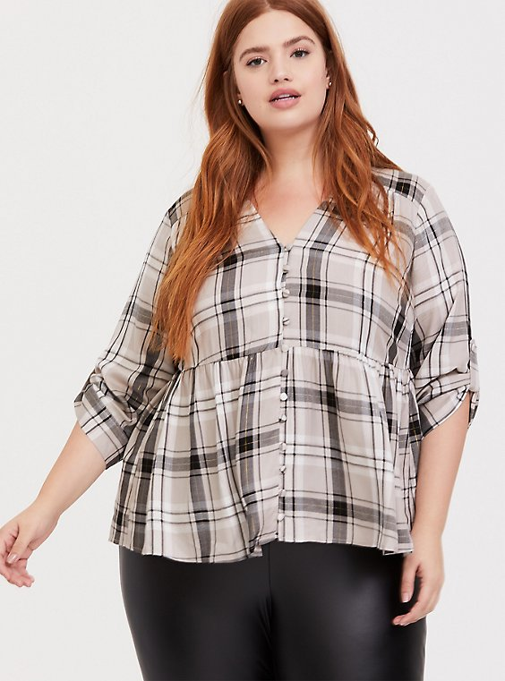 Plus Size Grey & Gold-Tone Plaid Twill Babydoll Shirt, , hi-res