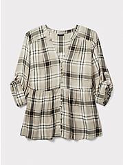 Grey & Gold-Tone Plaid Twill Babydoll Shirt, MULTI, hi-res