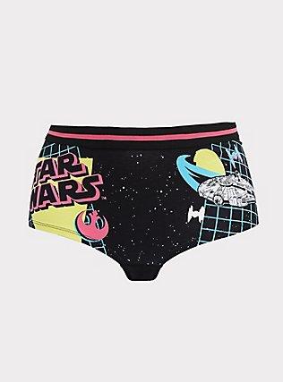 Star Wars Black & Neon Cotton Boyshort Panty, MULTI, flat