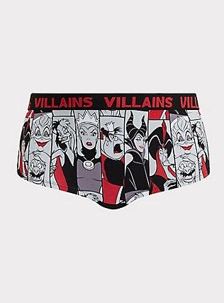 Disney Villains Black Cotton Boyshort Panty, MULTI, flat