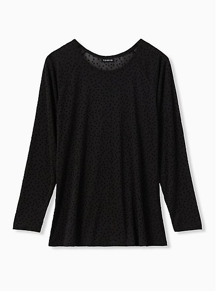 Black Mesh Flocked Star Raglan Top, DEEP BLACK, hi-res