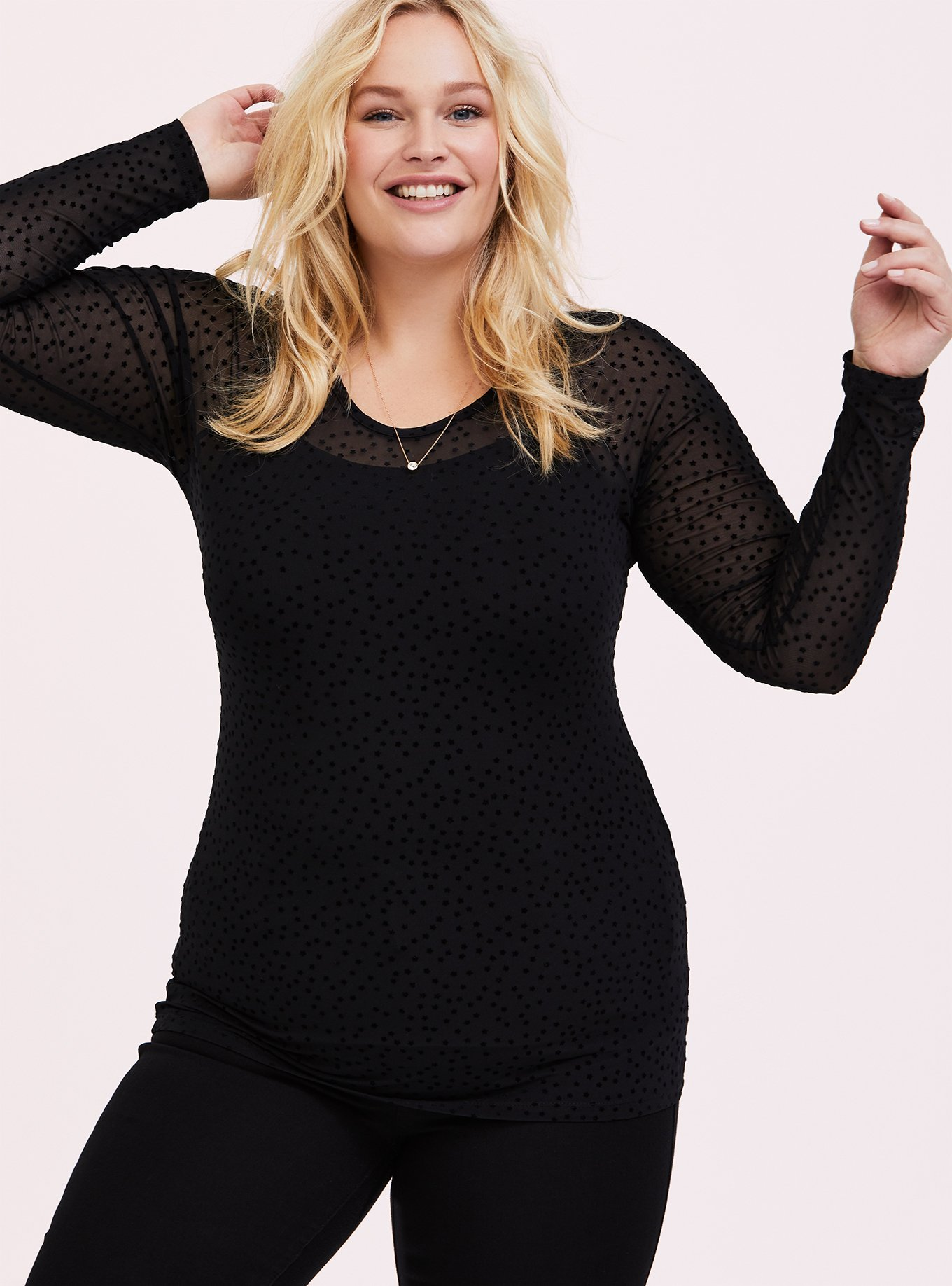 Black Mesh Flocked Star Raglan Top by Torrid