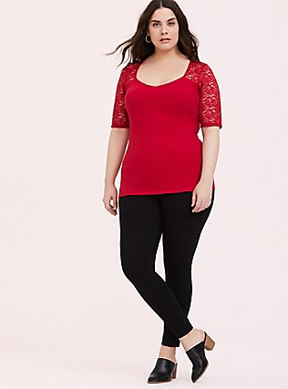 Red Lace Sleeve Foxy Tee, JESTER RED, alternate
