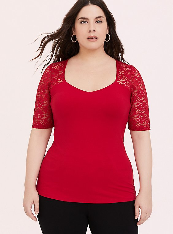 Red Lace Sleeve Foxy Tee, , hi-res