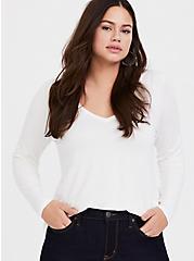 Super Soft White V-Neck Long Sleeve Tee, CLOUD DANCER, hi-res