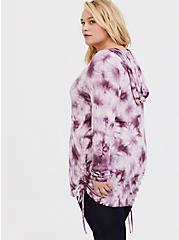 Super Soft Purple Tie-Dye Drawstring Hoodie, TIE DYE, alternate