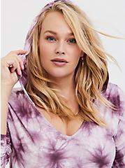 Super Soft Purple Tie-Dye Drawstring Hoodie, TIE DYE, hi-res
