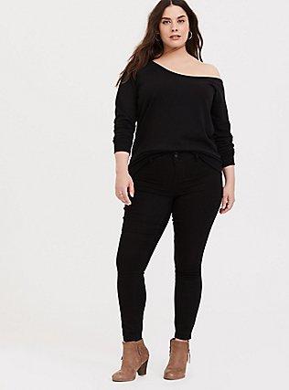 Black Terry Off Shoulder Sweatshirt, DEEP BLACK, alternate