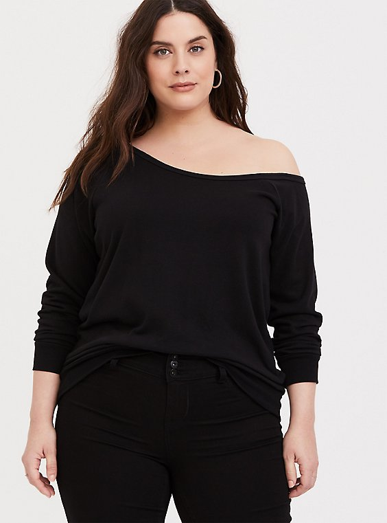 Plus Size Black Terry Off Shoulder Sweatshirt, , hi-res