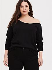 Plus Size Black Terry Off Shoulder Sweatshirt, DEEP BLACK, hi-res