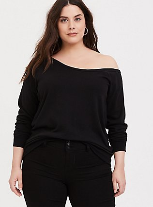 Black Terry Off Shoulder Sweatshirt, DEEP BLACK, hi-res