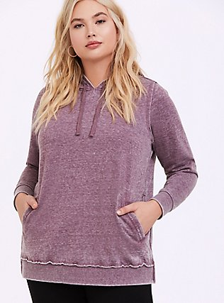 Washed Purple Wine Side-Zip Hoodie, EGGPLANT, alternate