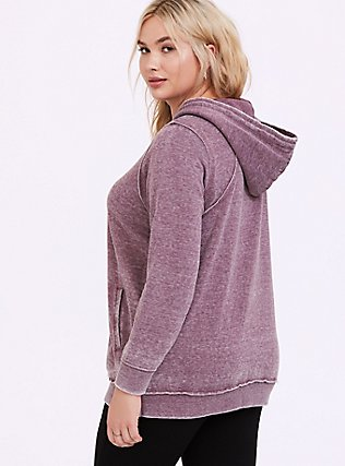 Plus Size Washed Purple Wine Side-Zip Hoodie, EGGPLANT, alternate
