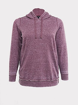 Washed Purple Wine Side-Zip Hoodie, EGGPLANT, flat