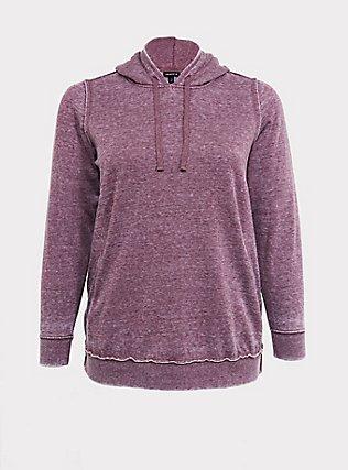 Plus Size Washed Purple Wine Side-Zip Hoodie, EGGPLANT, flat