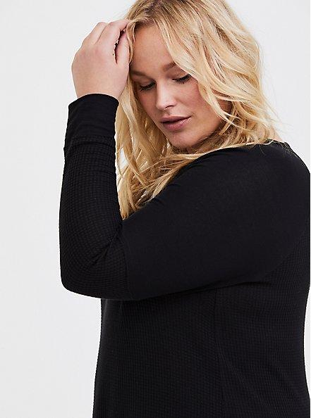 Black Waffle-Knit Long Sleeve Tee, DEEP BLACK, alternate