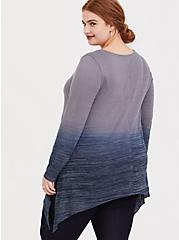 Plus Size Grey & Navy Dip-Dye Hacci Sharkbite Tunic, PEACOAT, alternate