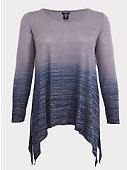 Plus Size Grey & Navy Dip-Dye Hacci Sharkbite Tunic, PEACOAT, hi-res