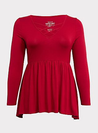 Plus Size Super Soft Red Lattice Babydoll Tee, JESTER RED, flat