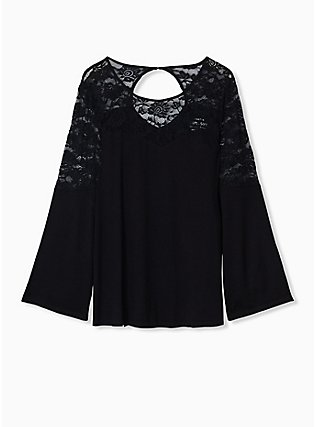 Super Soft & Lace Black Bell Sleeve Top, DEEP BLACK, flat