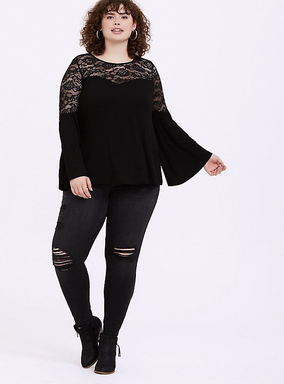 Super Soft & Lace Black Bell Sleeve Top, , hi-res