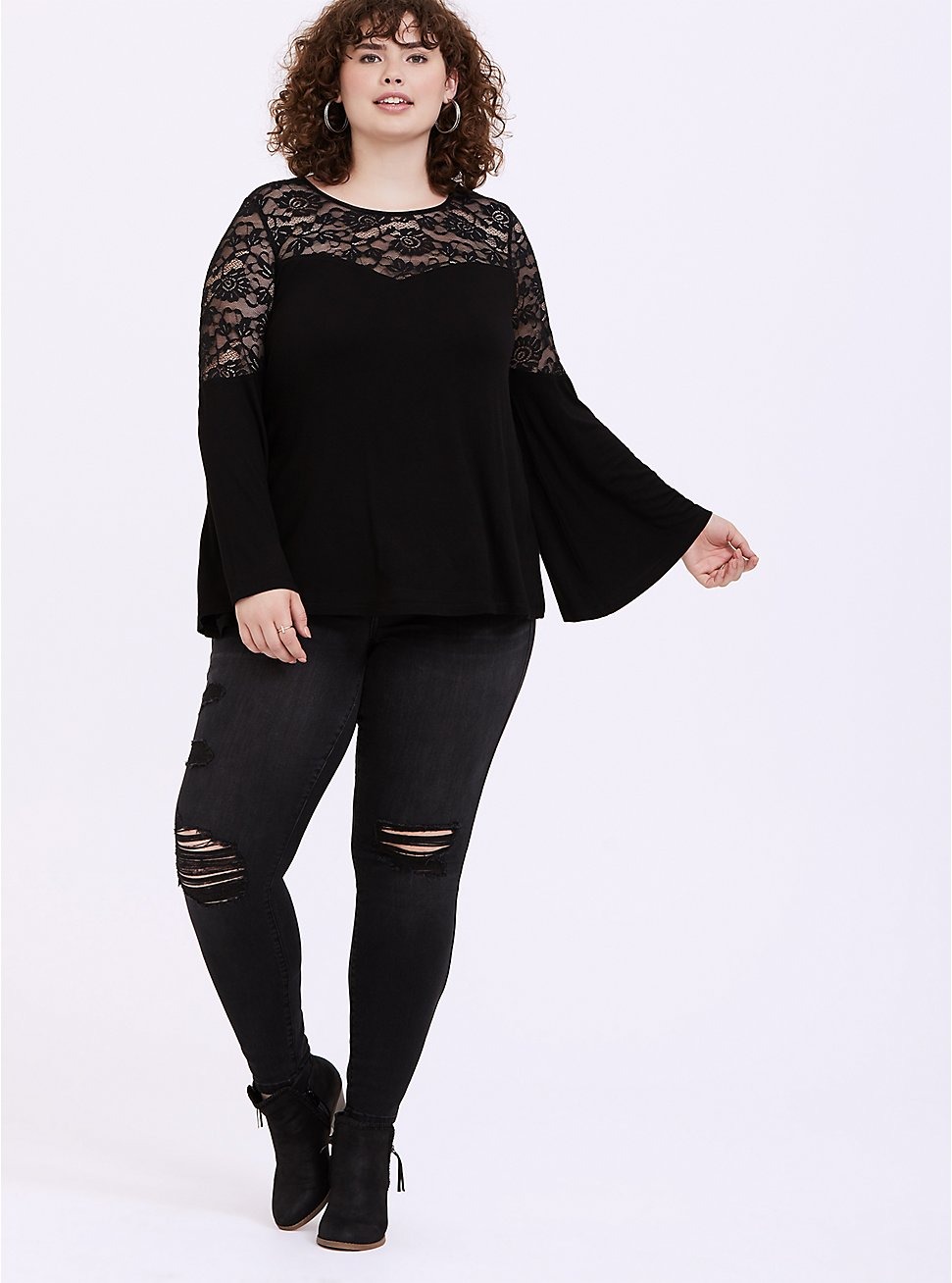 Super Soft & Lace Black Bell Sleeve Top, DEEP BLACK, hi-res