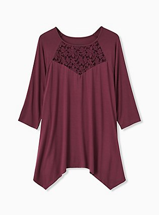 Super Soft Purple Wine Lace Insert Handkerchief Tee, EGGPLANT, flat