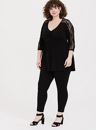 Plus Size Black Studio Knit Babydoll Tee, DEEP BLACK, alternate