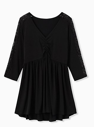Black Studio Knit Babydoll Tee, DEEP BLACK, flat
