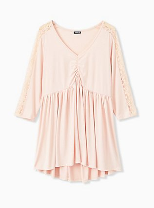 Light Pink Studio Knit & Lace Babydoll Top, PALE BLUSH, flat