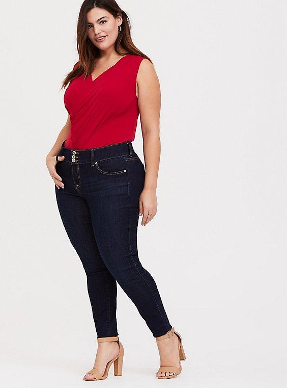 Red Studio Knit Surplice Bodysuit, , hi-res
