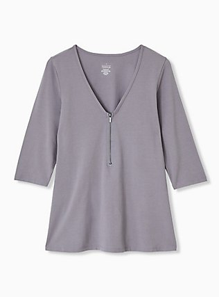 Slate Grey Zip V-Neck Foxy Tee, DARK PEARL GREY, flat