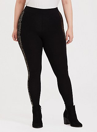 Premium Legging - Diamond Dot Gold Foil & Black, BLACK, hi-res