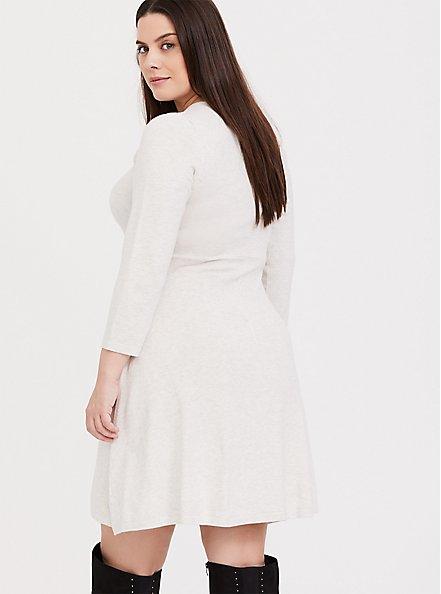 Oatmeal Lattice Sweater-Knit Dress, OATMEAL HEATHER, alternate