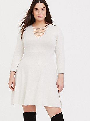Oatmeal Lattice Sweater-Knit Dress, OATMEAL HEATHER, hi-res