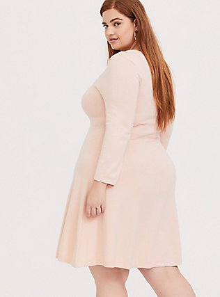 Plus Size Light Pink Sweater-Knit Lattice Skater Dress, PALE BLUSH, alternate