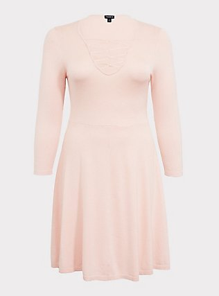 Plus Size Light Pink Sweater-Knit Lattice Skater Dress, PALE BLUSH, flat