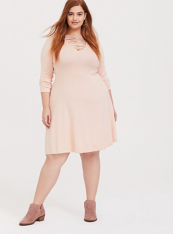 Plus Size Light Pink Sweater-Knit Lattice Skater Dress, , hi-res