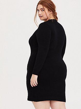 Black Cable Sweater-Knit Bodycon Dress, DEEP BLACK, alternate