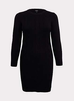 Black Cable Sweater-Knit Bodycon Dress, DEEP BLACK, flat